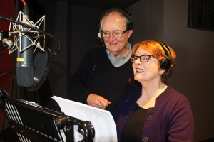 Jim Broadbent and Brenda Blethyn at the voice recordings held at Goldcrest Films, London, March 2015