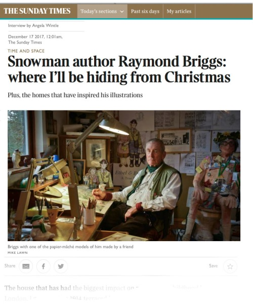 Sunday Times article on Raymond Briggs_Dec 17th 2017